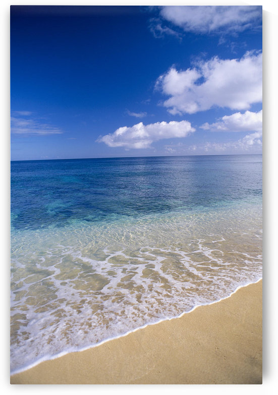 Wave Washes Ashore Onto Sandy Beach, Azure Ocean, Blue Sky B1498 by PacificStock