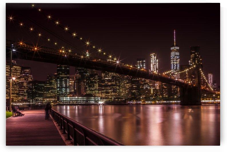 MANHATTAN SKYLINE & BROOKLYN BRIDGE Sunset by Melanie Viola