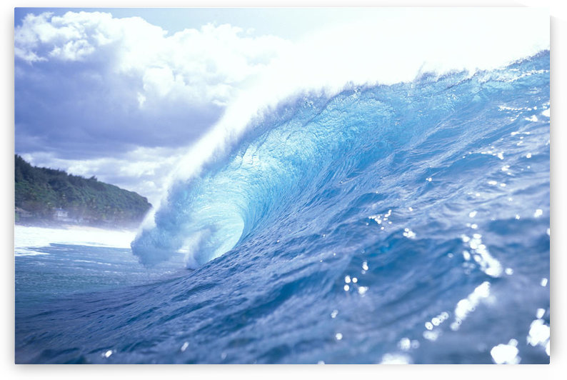 Hawaii, Oahu, North Shore, Side View Of Clear Blue Wave In The Curl, Look To White Sky by PacificStock