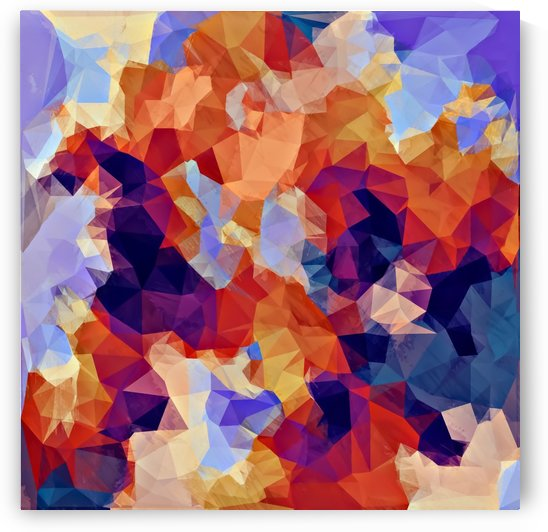 psychedelic geometric polygon pattern abstract in orange brown blue purple by TimmyLA