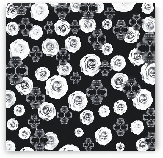 vintage skull and rose abstract pattern in black and white by TimmyLA