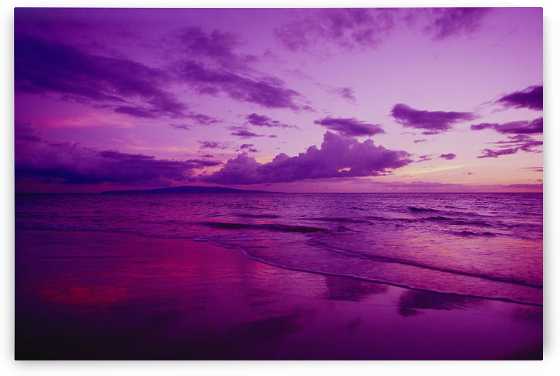 Hawaii, Maui, Kihei, Sunset, Purple Sky, Shoreline At Kamaole Beach by PacificStock
