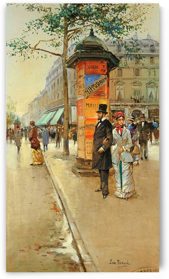 Couple near the central area of Paris by Jean Beraud