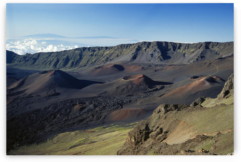 Hawaii, Maui, Overview Of Haleakala Crater, Trails Red Dirt, Blue Sky by PacificStock