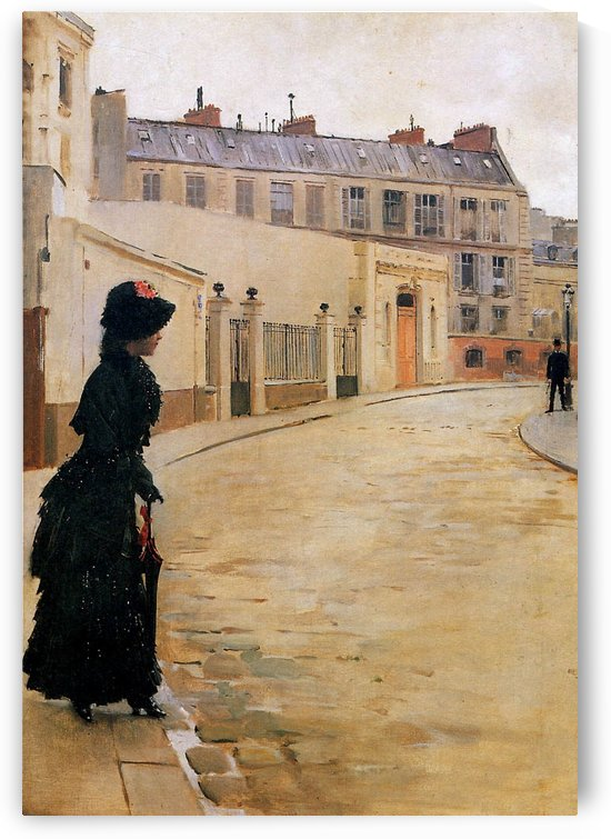 Waiting on Rue de Chateaubriand by Jean Beraud