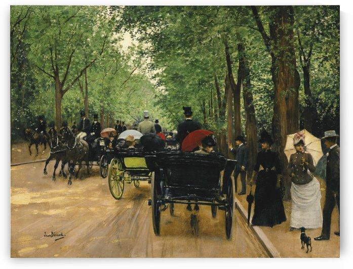 Traffic along a boulevard in Paris by Jean Beraud