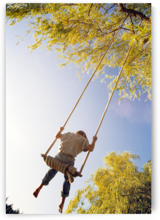 Fv3596, Natural Moments Photography; View From Below, Boy On Swing by PacificStock