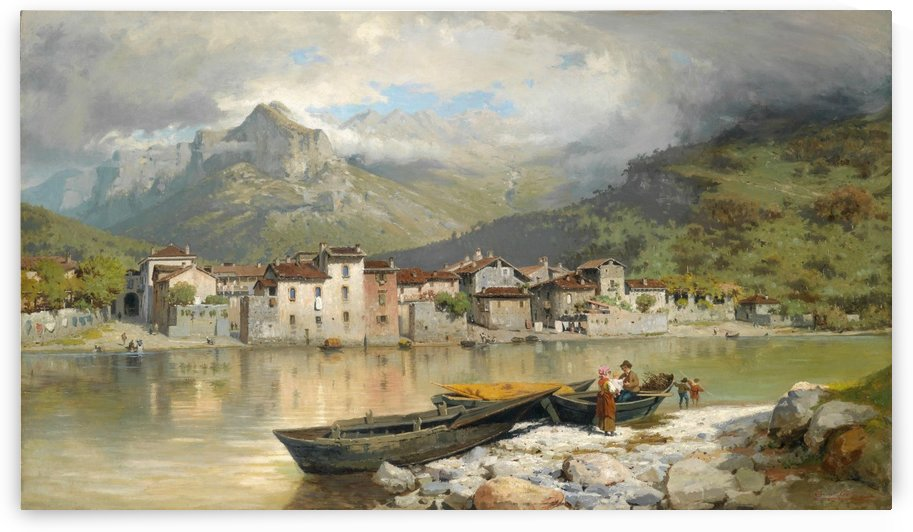 Fisherman with his family in Lecco by Ercole Calvi