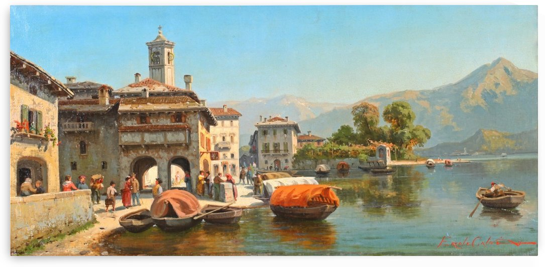 Landscape on Lake Como by Ercole Calvi