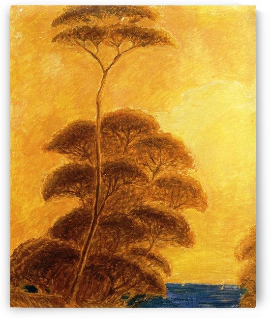 A sunny day with gold trees by Gaetano Previati