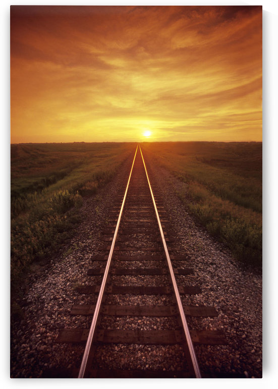 Railway And Sunset, Near Winnipeg, Manitoba by PacificStock