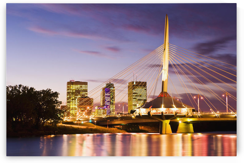 City Skyline, Red River And Provencher Bridge At Dusk, Winnipeg, Manitoba by PacificStock