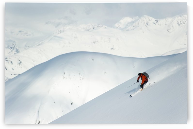Man skiing the west face of Peak 3720, Turnagain Arm, Chugach Mountains, Southcentral Alaska by PacificStock