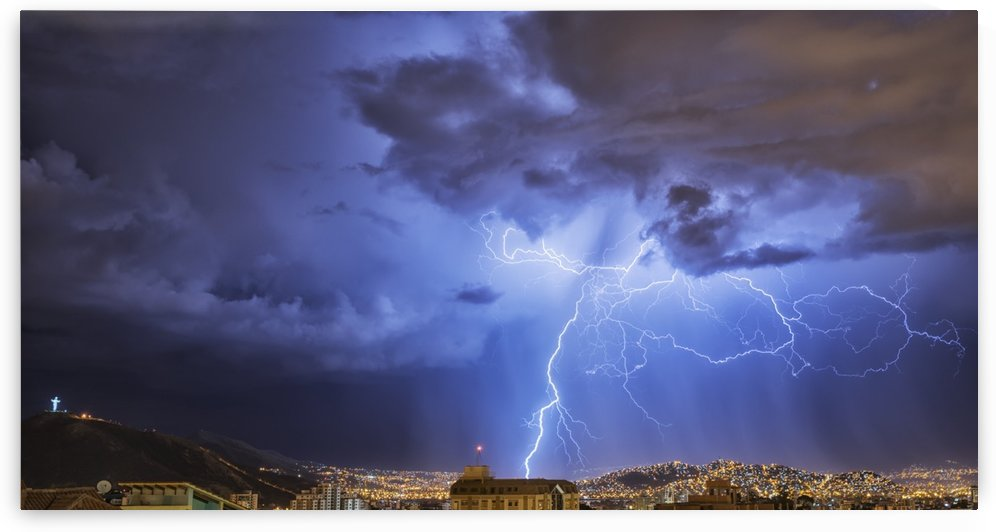Lightning lights up the night skies above the city of Cochabamba; Cochabamba, Bolivia by PacificStock