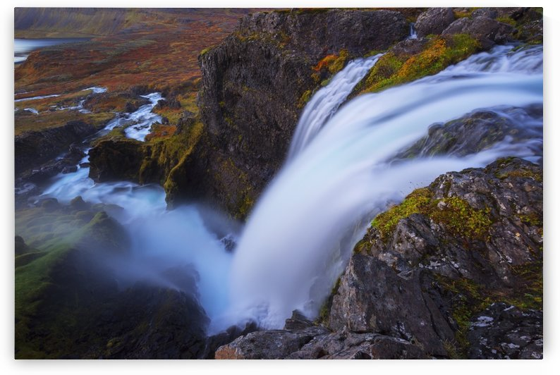 A large waterfall that is part of the Dynjand waterfall on the Westfjords; Iceland by PacificStock