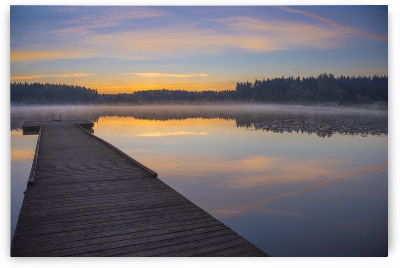 Reflection of a beautiful serene sunrise on peaceful Scott lake; Washington, United States of America by PacificStock