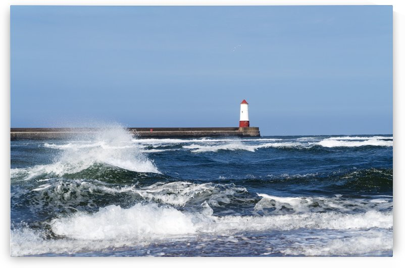 Berwick breakwater lighthouse; Berwick, Northumberland, England by PacificStock