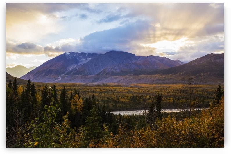 Autumn sunset overlooking the area known as 'Black Rapids' in the Alaska Range along the Richardson Highway; Alaska, United States of America by PacificStock