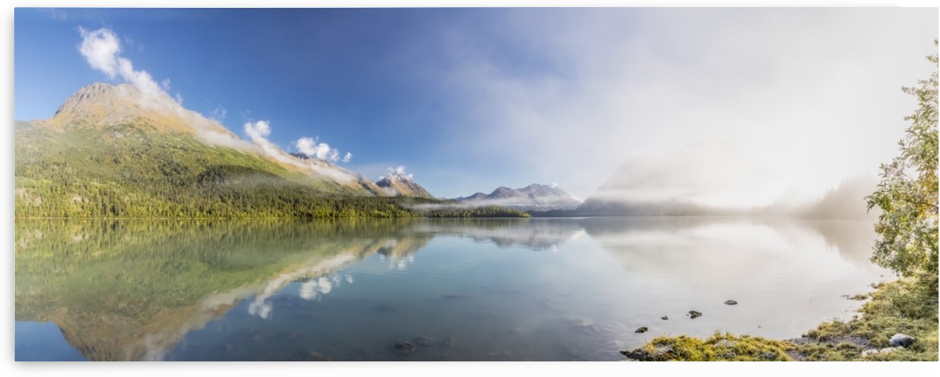 Scenic panorama of Kenai Lake and fog at sunrise, Cooper Landing, Southcentral Alaska, USA by PacificStock