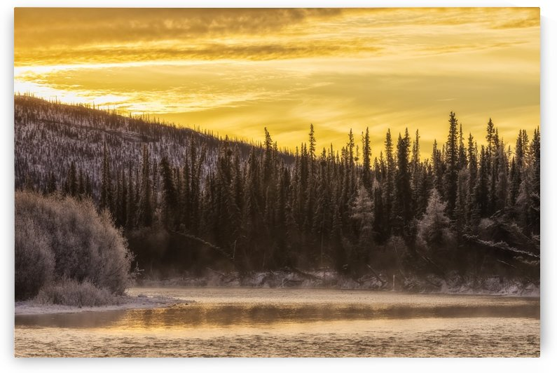 Sunrise over top of the Fishing Branch River in Ni'iinlii Njik (Fishing Branch) Territorial Park; Yukon, Canada by PacificStock