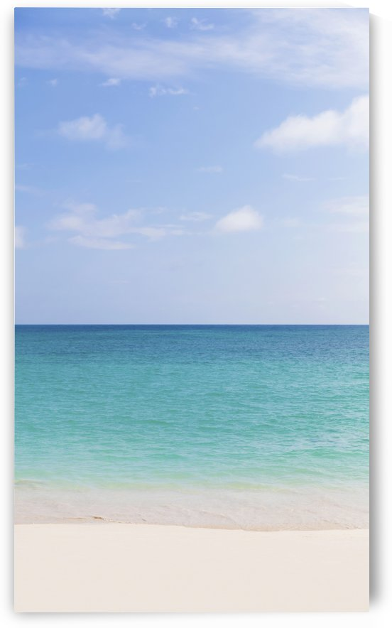 Landscape of a white sandy beach and turquoise ocean and blue sky, Lanikai Beach; Honolulu, Oahu, Hawaii, United States of America by PacificStock