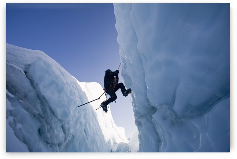 Ice Climber Ascending Out Of Crevasse On Matanuska Glacier Southcentral Alaska Winter by PacificStock