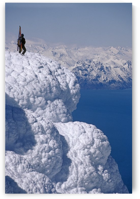 Mountaineer Standing On Ridge Viewing Vast Scenery From Augustine Volcano Across Cook Inlet Alaska by PacificStock