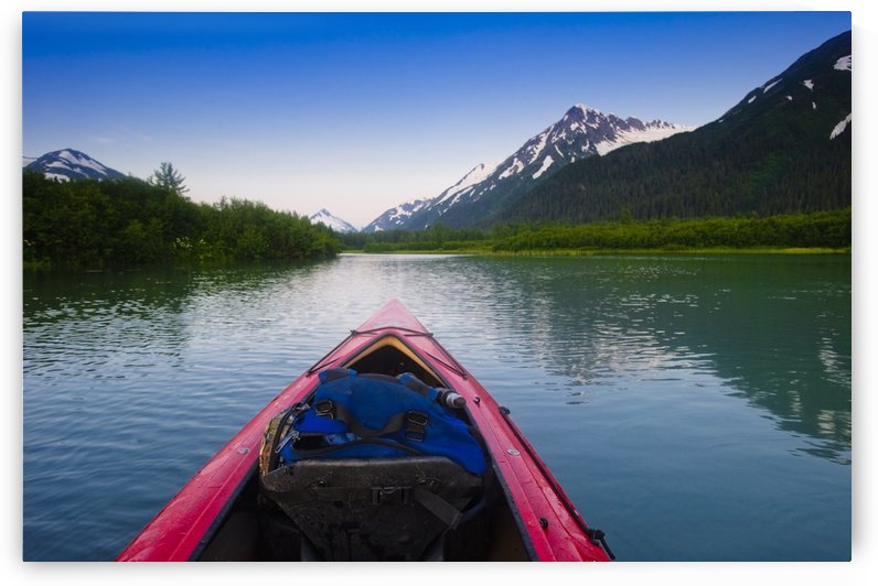 A Kayaker's Perspective While Crossing A Calm Lake At Sunset, Southcentral Alaska During Summer by PacificStock
