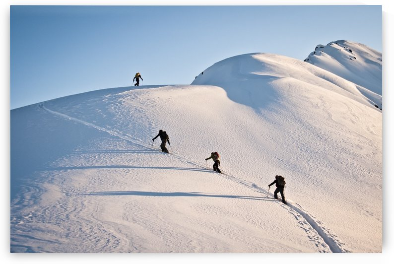 Group Of Backcountry Skiiers Skinning Up A Rail On Cornbiscuit, Turnagain Pass, Kenai Mountains, Winter In Southcentral Alaska by PacificStock