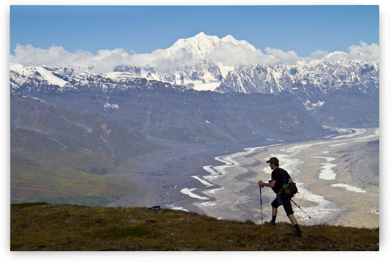 Silhouette Of A Man Hiking In The Tokosha Mountains Above The Tokositna Glacier With Mt. Hunter And The Alaska Range In The Background, Denali National Park & Preserve, Interior Alaska, Summer by PacificStock