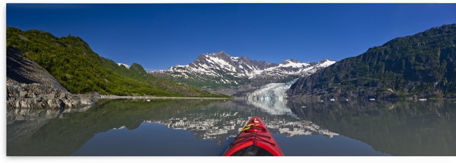 Kayaker Perspective Of Kayaking In Shoup Bay On A Sunny Day With Shoup Glacier, Prince William Sound, Southcentral, Alaska by PacificStock