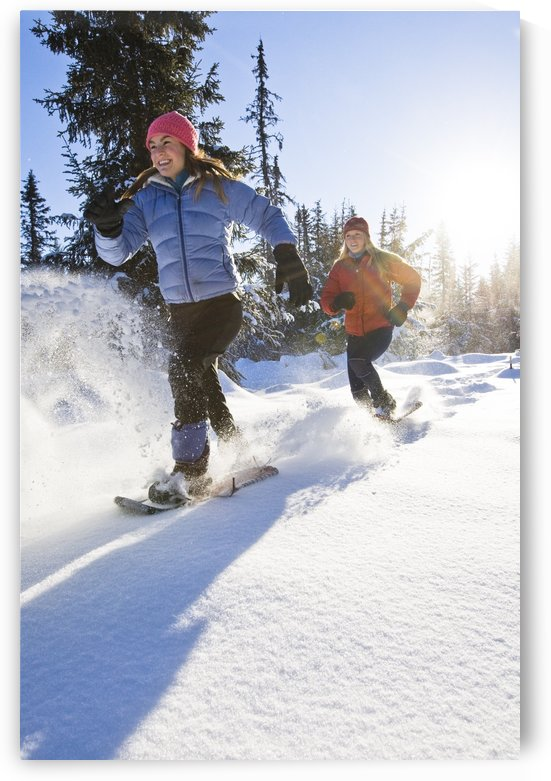 Two Young Women On Snowshoes Enjoy The Outdoors Near Homer, Alaska During Winter. by PacificStock