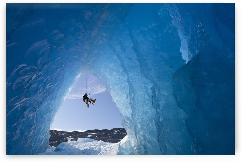 Composite: View From Inside An Ice Cave Of An Iceberg Frozen In Mendenhall Lake As An Ice Climber Rappels Down A Rope, Juneau, Southeast Alaska, Winter by PacificStock