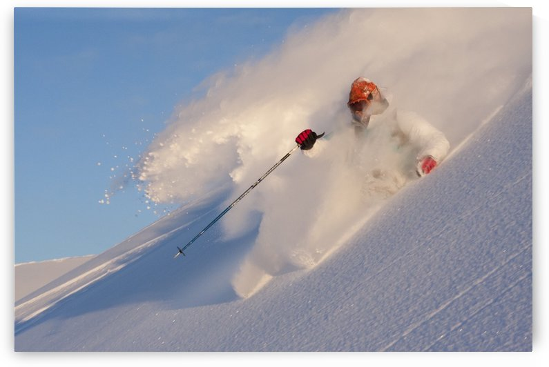 Downhill Skier In Fresh Powder In Chugach Mountains Of Turnagain Pass, Southcentral Alaska, Winter by PacificStock