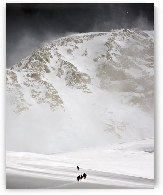 View Of Climbers Traversing The Kahiltna Glacier On The West Buttress Route With The South Face Of Denali In The Background, Denali National Park And Preserve, Interior Alaska, Summer by PacificStock