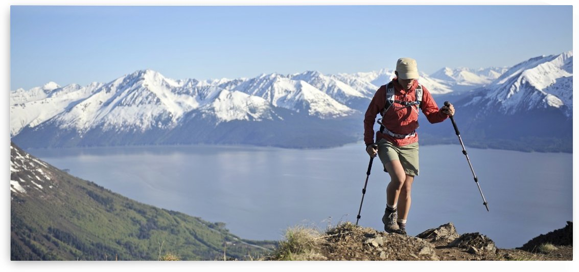 Woman Hikes Up The Bird Ridge Trail In Chugach State Park With The Scenic Kenai Mountains And Turnagain Arm In The Background, Southcentral Alaska, Summer by PacificStock