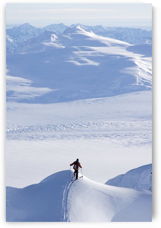 Skier Climbing Up Ridge Above The Sargent Icefield Southcentral Alaska Spring by PacificStock
