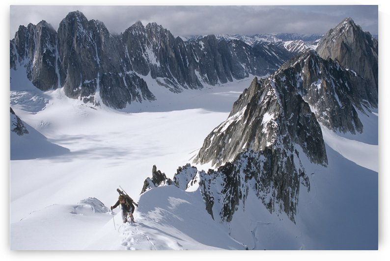 Mountaineer Climbing On Narrow Ridge In Kichatna Mtns Denali National Park Interior Alaska Winter by PacificStock