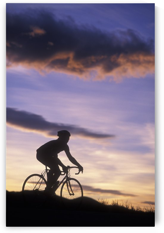Silhouette Of A Road Biker Riding Against A Colorful Sunset Sky by PacificStock