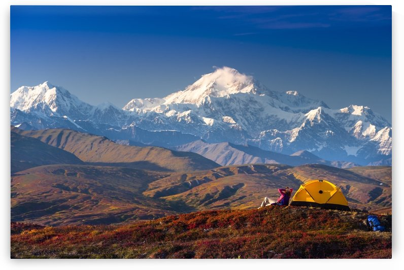 A Woman Relaxes Next To Her Tent In Peters Hills With A View Of Mt. Mckinley In The Background, Denali State Park, Southcentral Alaska, Fall by PacificStock