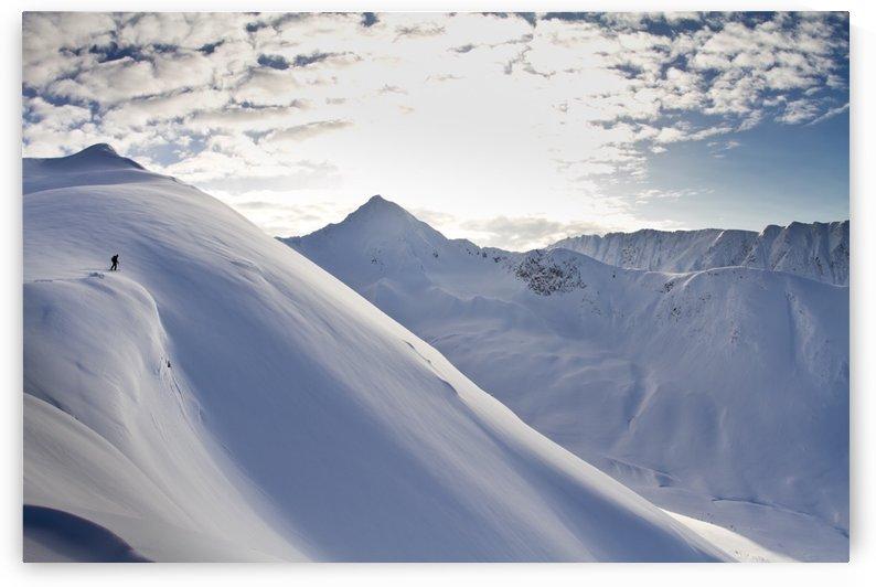 Man Backcountry Skiing In Powder Snow At Wolverine Bowl, Turnagain Pass, Kenai Mountains, Southcentral Alaska, Winter by PacificStock