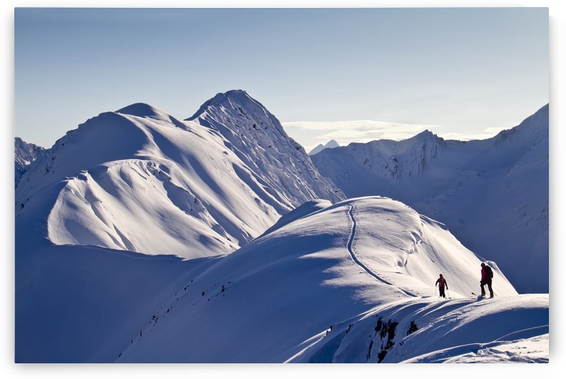 Skiers Skinning The Snow-Covered Eddies Ridge To Ski The South Face To Ingram Creek, Turnagain Pass, Kenai Mountains, Winter In Southcentral Alaska by PacificStock