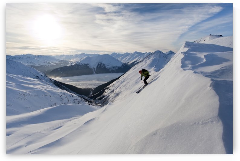 Skier Skiing In Peterson Creek In The Western Chugach, Above Turnagain Arm Near Girdwood, Winter In Southcentral Alaska by PacificStock