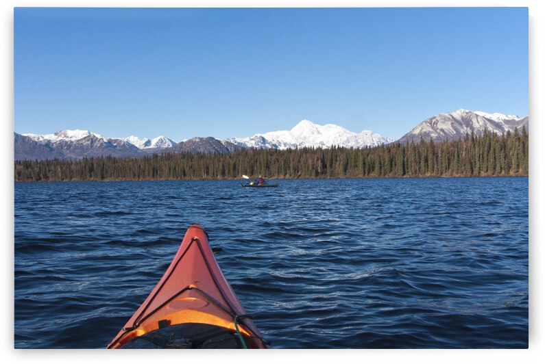 Woman Kayaking In Byers Lake As Seen From Another Kayaker's Point Of View With Scenic View Of Mt. Mckinley On A Clear Sunny Day, Denali State Park, Southcentral Alaska, Autumn by PacificStock