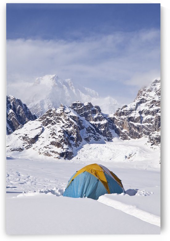 Mountain tent on ridge in winter, Mt. McKinley in background, part of Mt. Dan Beard immediately behind tent, Denali National Park and Preserve; Alaska, United States of America by PacificStock