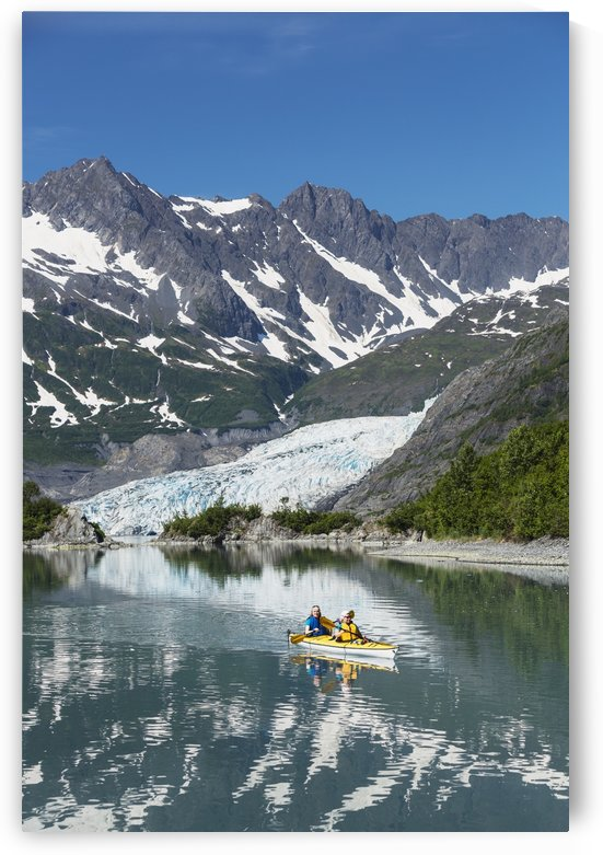 Sea kayakers in front of Shoup Glacier, Shoup Bay State Marine Park, Prince William Sound, Valdez, Southcentral Alaska by PacificStock