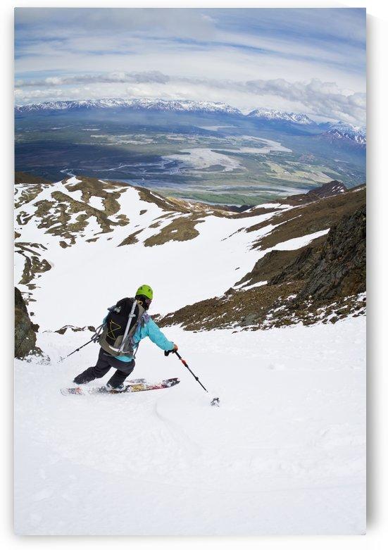 Backcountry skier on East Twin Peak near Eklutna, Chugach Mountains, Southcentral Alaska, Winter by PacificStock