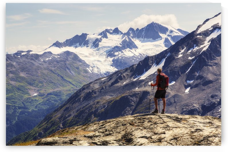 Female backpacker enjoying the view from the Harding Icefield Trail near Seward, Kenai Fjords National Park, Kenai Peninsula, Southcentral Alaska, Summer, HDR by PacificStock