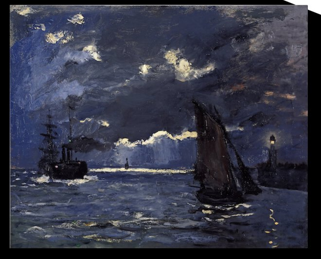 Shipping by Moonlight by Monet by Monet