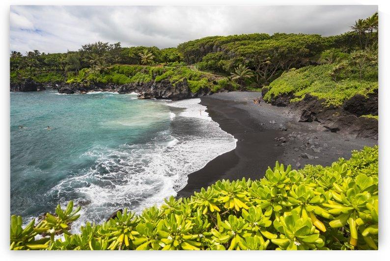 The black sand beach at Waianapanapa State Park; Hana, Maui, Hawaii, United States of America by PacificStock